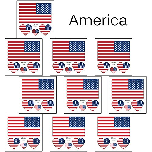 Lady Up 10 PCS American Flag Temporary Tattoo USA 4th July Body Art Stickers for Sport Day Temp Tattoos Waterproof (America)