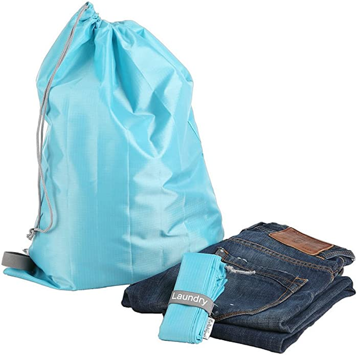 """EzPacking Travel Laundry Bag with Drawstring/Foldable Compact Lightweight Small Travel Size for Suitcase / (22"""" X 16"""") / Clean Dirty Clothes Wash Bag/Nylon Blue/Washable/for Women Men Kids Baby"""
