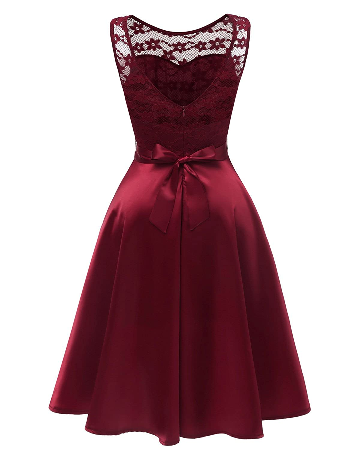 Womens Vintage Lace Wedding Bridesmaid Cocktail Party Flared Swing Dress Sleeveless