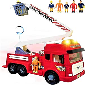 FUNERICA Toy Fire Truck with Lights and Sounds - 4 Sirens - Big Folding Ladder - Powerful Friction Wheels - Large Red Play Fire Engine Firetruck for Kids Toddlers Boys & Girls - Bonus: 5 Toy Figures