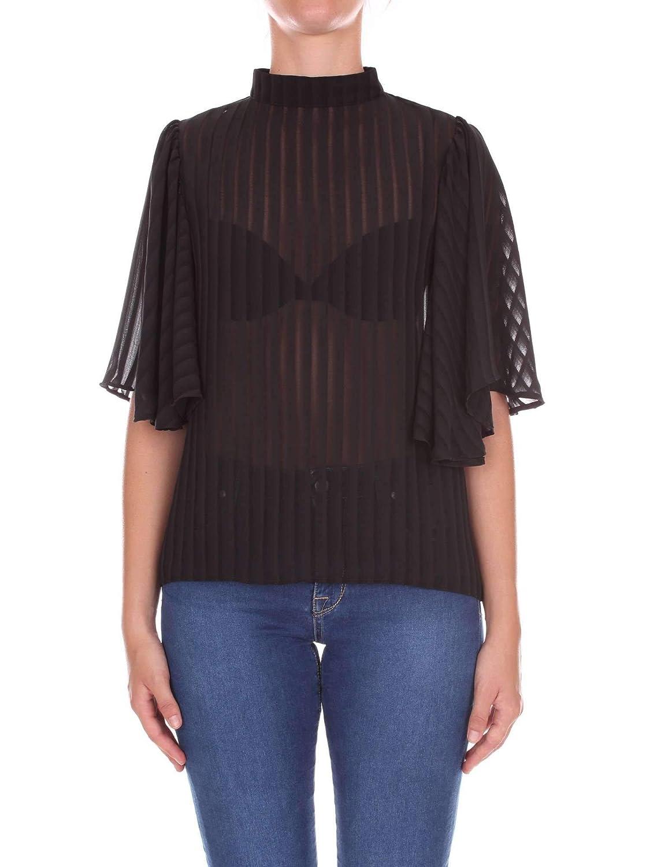 Nineminutes Women's VOLANTSTRIPEblack Black Polyester Top