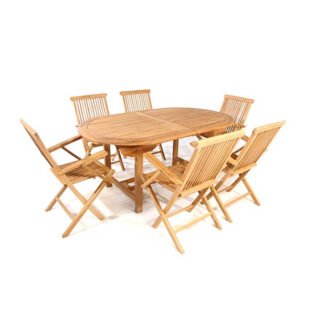 Sitzgruppe in Teakfarben ausziehbar (7-teilig) Pharao24