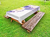Lunarable Lotus Outdoor Tablecloth, Lotus Flowers in Water Yoga Meditation Plant Botany Bouquet Watercolor Art, Decorative Washable Picnic Table Cloth, 58 X 120 inches, Cream Purple Yellow