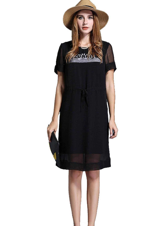 Hubitowis Damen-Chiffon-Kleid mit Ärmeln Plus -Size Sommer Casual T-Shirt Bluse Tops