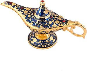 Usany Collectable Rare Legend Aladdin Magic Genie Light Lamp Pot Classic (Golden Blue)