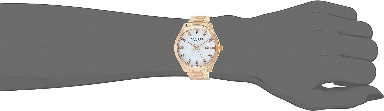 Akribos XXIV Women's Genuine Swarovski Crystals Watch - Mother-of-Pearl Dial on Stainless Steel Bracelet - AK954 Rose Gold