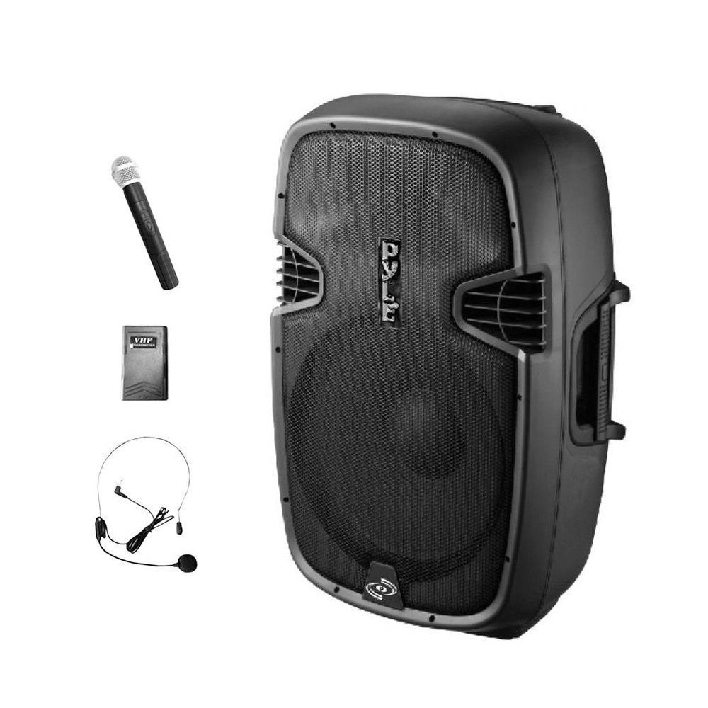 Pyle 10'' Compact Portable PA System Battery Powered 600-Watt Peak Power Active Speaker with Bluetooth, SD Slot, USB, MP3, XLR, 1/4'', 3.5mm Input (PPHP109WMU)