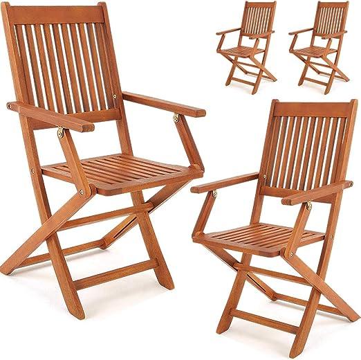 Deuba Set Juego de 4 sillas Sydney de Madera de Acacia sillas ...