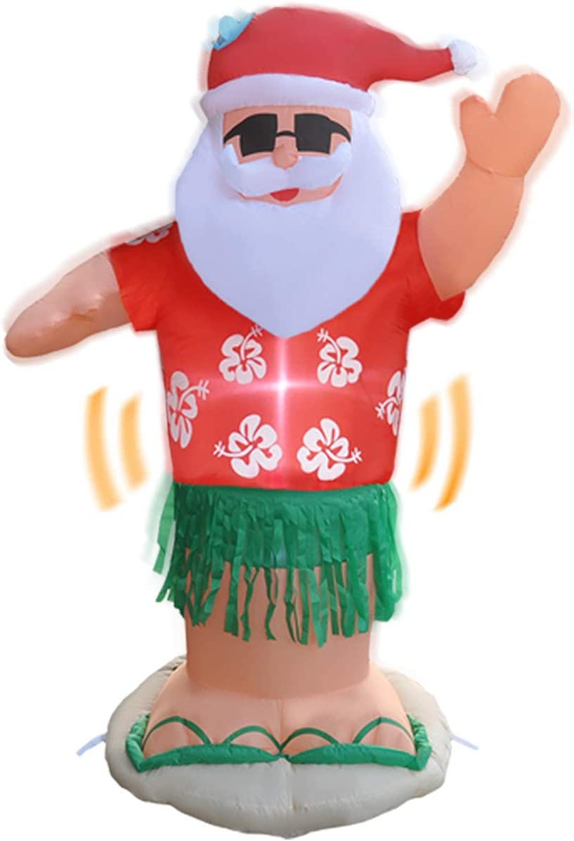RETRO JUMP 7 Ft Christmas Inflatables Animated Hula Santa Inflatable Shaking Dance Santa Claus Led Lights Christmas Blow up Outdoor Lawn Yard Party Decor