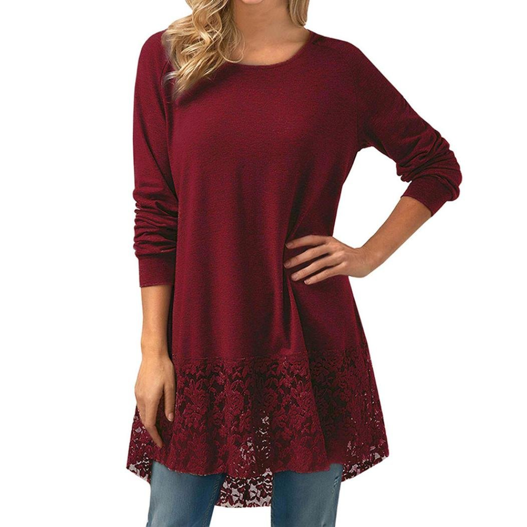 Amanod 2018 discount hot sale Women Long Sleeve Lace Hoodie High Low Loose Tunic Tops Blouse