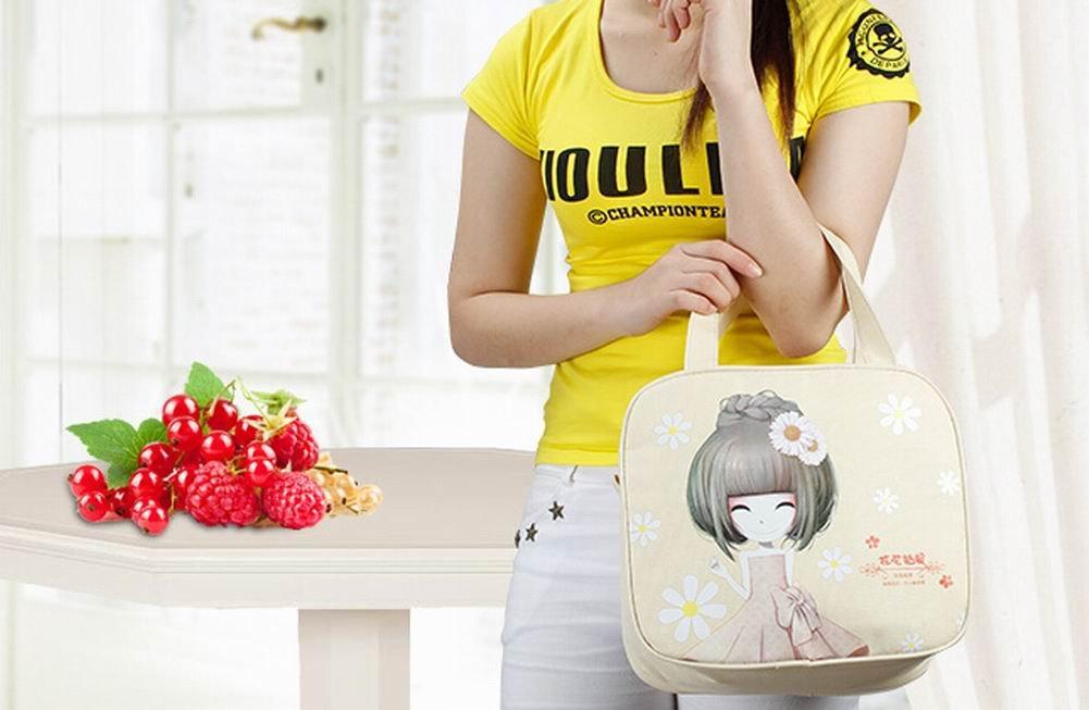 La bolsa de color beige portátil almuerzo bolsa de asas reutilizable almuerzo Bento Bolsa: Amazon.es: Bebé