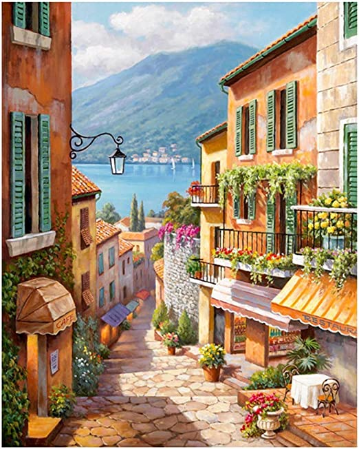 Home Decorate Paint By Number Kit Digital Oil Painting DIY Italy Town Frameless