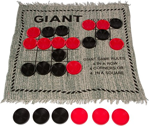 Trademark Innovations Square Giant Tic Tac Toe Reversible Rug by Game, 25″