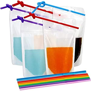 TOMNK 300pcs Clear Drink Pouches Bags Smoothie Bags Reclosable Zipper Heavy Duty Hand-held Translucent Stand-up Plastic Pouches Bags Drinking Bags 2.4 Inches Bottom Gusset with 300pcs Straws