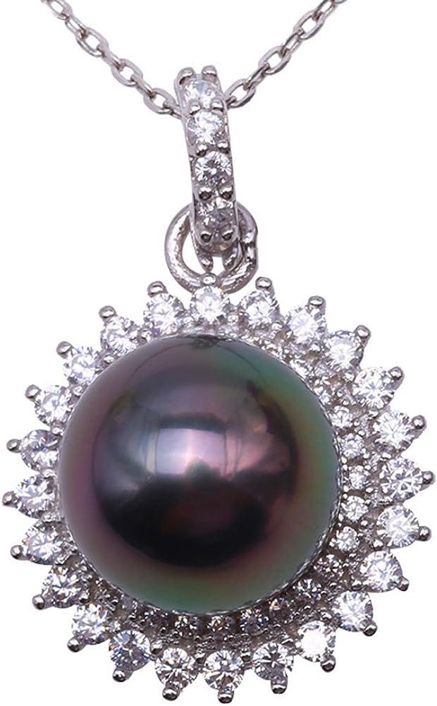 JYX Elegante Plata de Ley 925 Mar del Sur Cultivada Tahití Negro Perla Colgante Collar para Mujer 18
