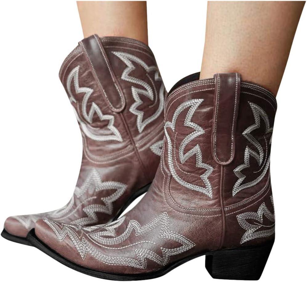 ღLILICATღ Botas Cowboy Mujer con Tacon Botas Moda Western Retro ...
