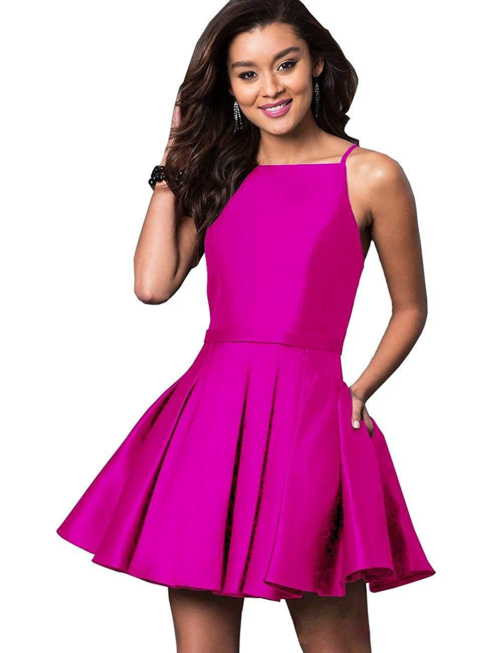 Fuchsia NewFex Homecoming Dresses Satin Spaghetti Strap 2018 Aline Short Prom Gown with Pockets