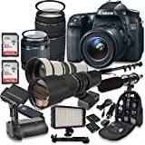 Canon EOS 70D DSLR Camera with Canon EF-S 18-55mm f/3.5-5.6 IS STM Lens + Canon EF 75-300mm f/4-5.6 III Lens + 2pc SanDisk 32GB Memory Cards + Battery Grip