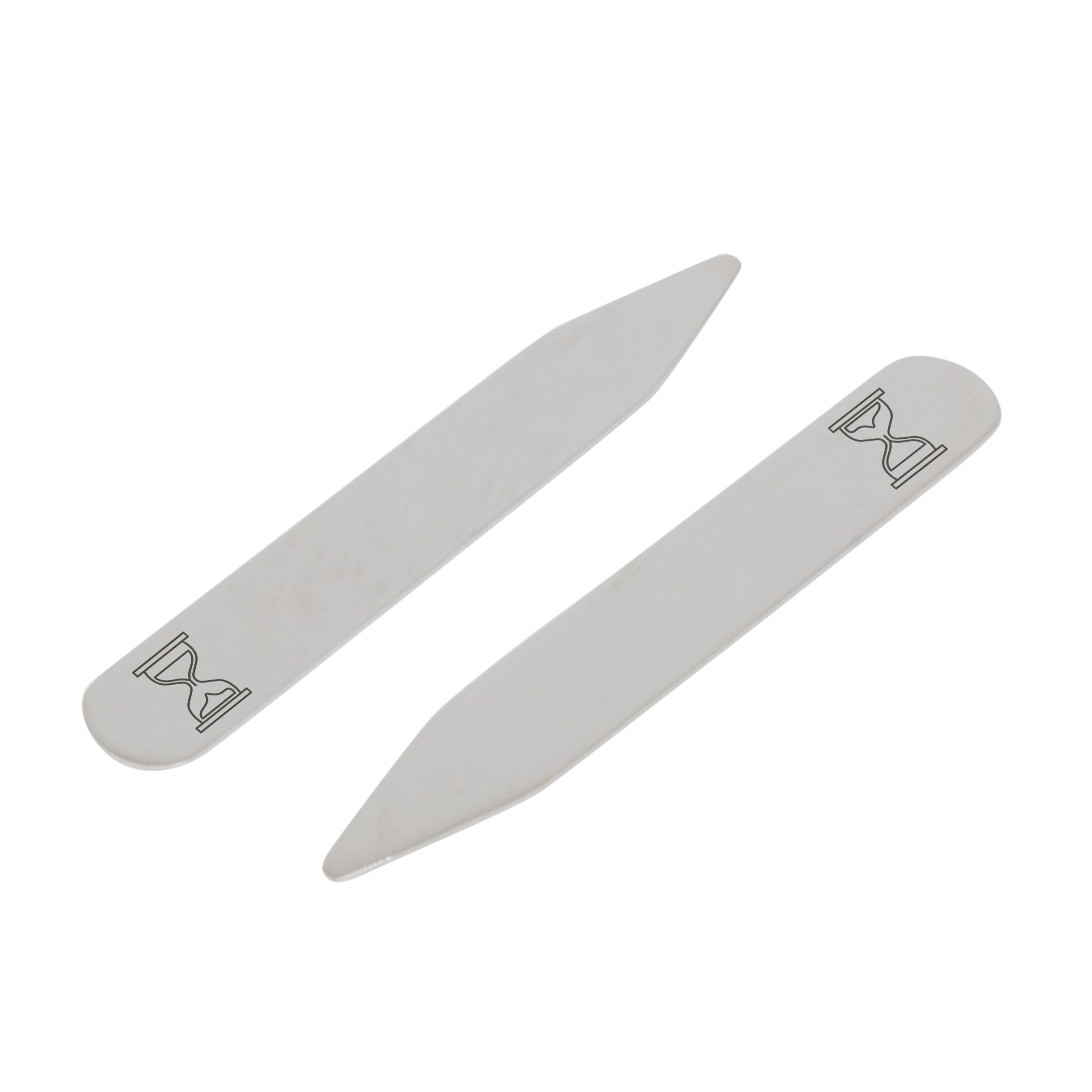 MODERN GOODS SHOP Stainless Steel Collar Stays With Laser Engraved Hourglass Design - 2.5 Inch Metal Collar Stiffeners - Made In USA