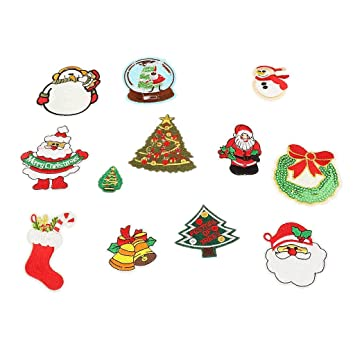 12pcs Embroidered Patches Merry Christmas Patch Christmas Decoration Craft Xmas Badge Embroideries