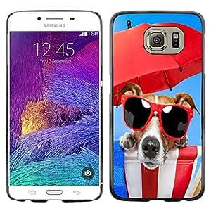 QCASE / Samsung Galaxy S6 SM-G920 / perro gafas de sol de playa paraguas rojo mar de verano / Delgado Negro Plástico caso cubierta Shell Armor Funda Case Cover