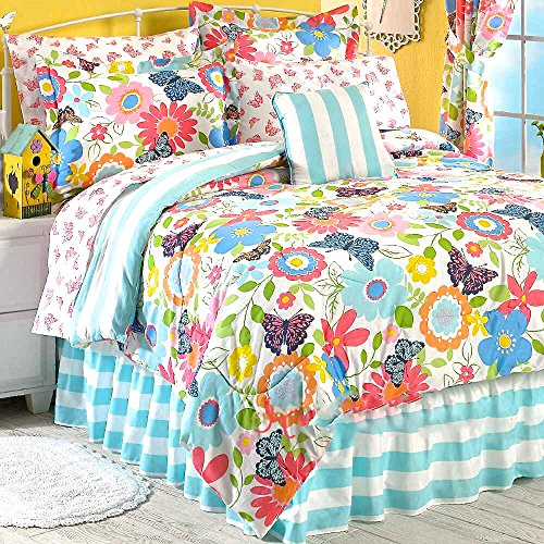 11pc FULL Size Girls room Ensemble REVERSIBLE BUTTERFLY Comforter & Sheet Set w/Summer Floral Blooms + TWO WINDOW VALANCES + ONE TOSS PILOW - Blue Garden Bed Ensemble