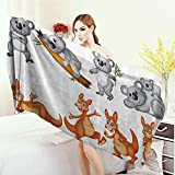 Adults Soft Absorbent Quick Dry Blanket Animal Decor Australian Baby Kangaroos and Koala