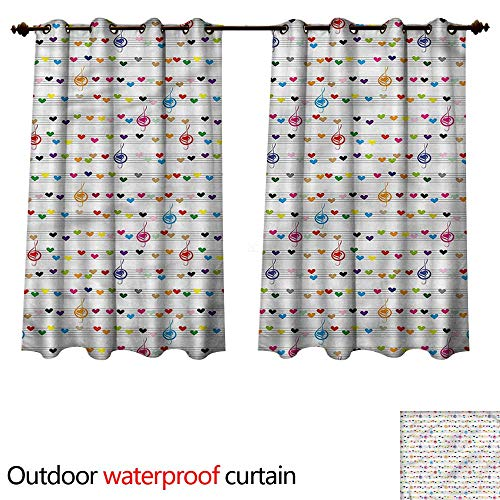 (cobeDecor Hearts 0utdoor Curtains for Patio Waterproof Musical Notes Sheet Love W72 x L72(183cm x 183cm))