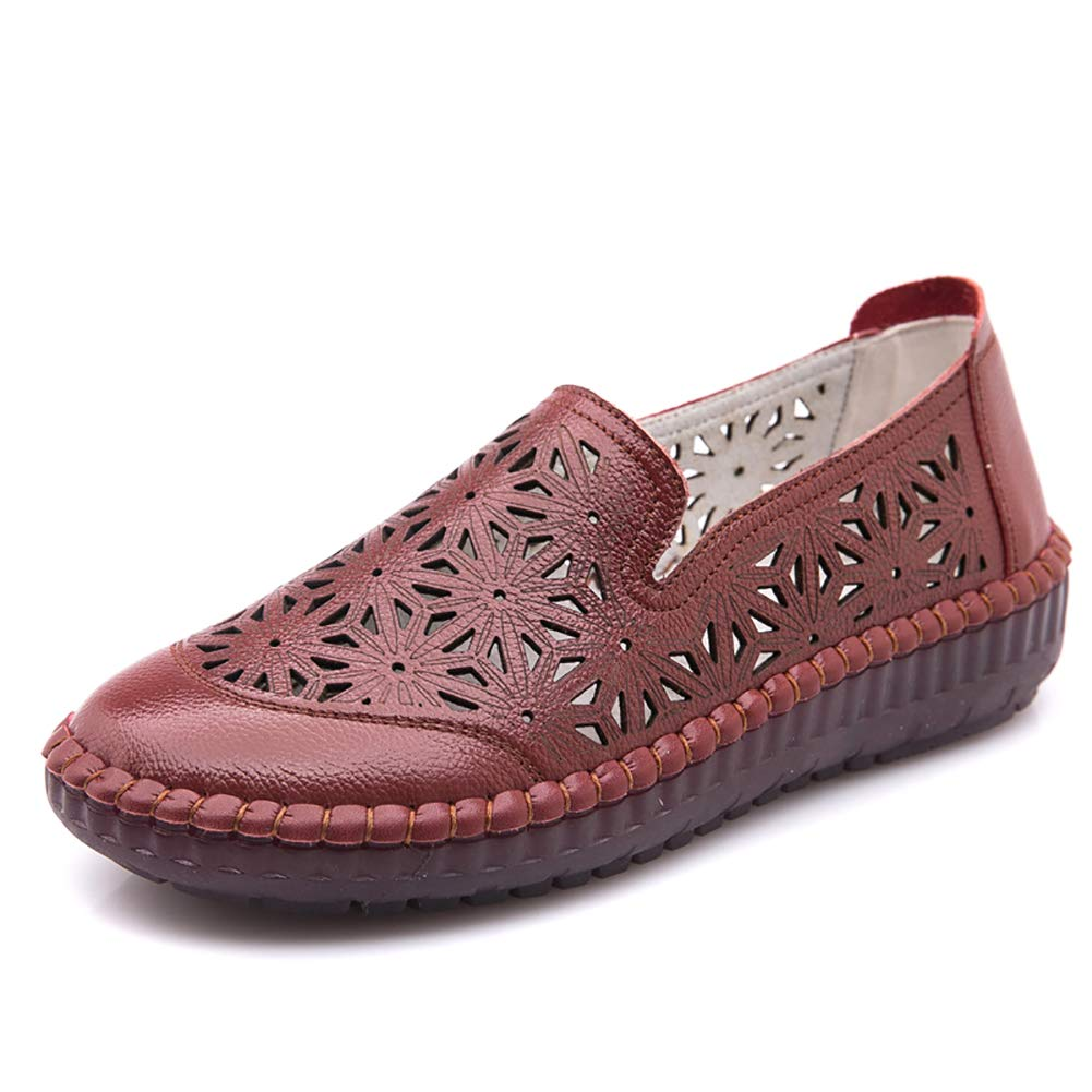 Odema Womens Comfort Leather Oxfords Slip-On Loafers Shoes Hollow Out Flat Sandals