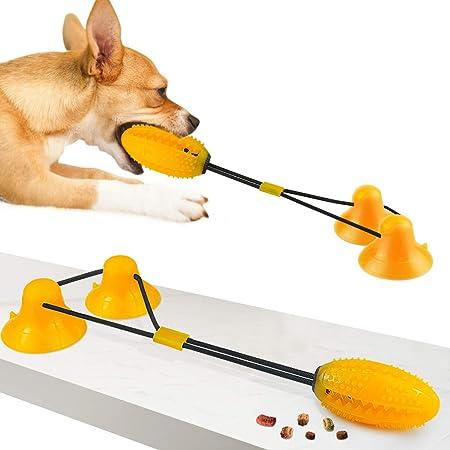 Imagen deYou Bola de Juguete para Perros al Aire Libre, Juguete Multifuncional Anti-mordida, Robusto Juguete para Perros de Doble Ventosa, Utilizado para la Limpieza de Dientes de Mascotas(Naranja