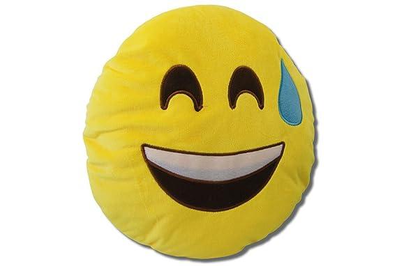 Katara 1788 Cojín Redondo Emoji Almohadilla Emoticono Whatsapp, Almohada Smiley De Peluche, Para Sofá - Riendo: Amazon.es: Juguetes y juegos