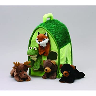 Plush Forest Animal House with Animals - Five (5) Stuffed Forest Animals ( Brown Bear, Black Bear, Moose, Frog, Fox) in Play Forest Carrying House: Toys & Games