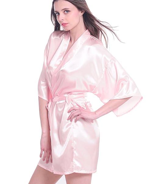Mujeres satén Kimono Albornoz Corto lencería Pijamas de Dama Rosa Rosa M