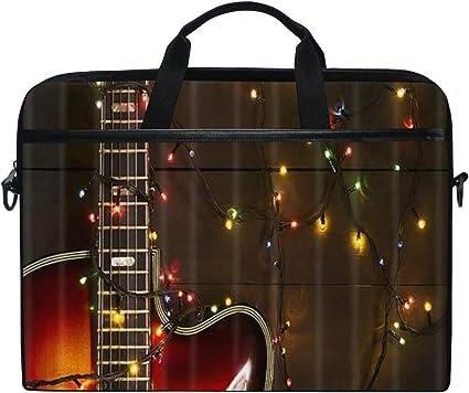 SIONOLY 15-15.4 Inch Estuche para Laptop,Guitarra eléctrica Vieja con guirnaldasobre Fondo de Madera,Nueva computadora portátil Messenger Satchel Maletín Bolsas de Hombro de Trabajo 15-15.4