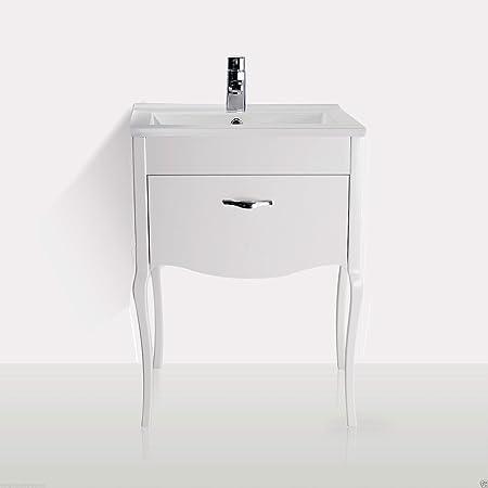 VICTORIAN STYLE WHITE GLOSS BATHROOM CERAMIC BASIN SINK CABINET VANITY UNIT