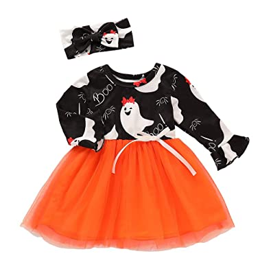 Toddler Kid Baby Girl Cartoon Splice Halloween Princess Long Sleeve Dress Outfit
