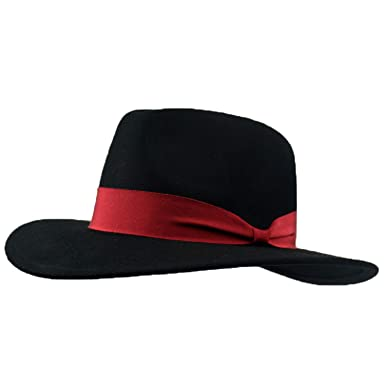 e00292dec48 Amazon.com: RXIN Fedoras Hats for Women Winter Wool Felt Hat Black Fedora  Hat for Men Korean Velvet Decoration Wedding: Clothing