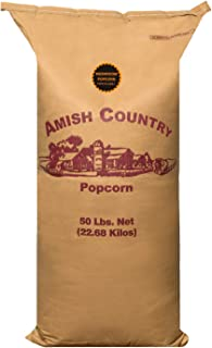 product image for Amish Country Popcorn | 50 Pound Bag Mushroom Kernels | Old Fashioned with Recipe Guide (50lb Bag)