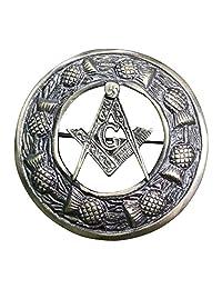 """AAR Men,s Scottish Masonic Kilt Brooch Fly Plaid Antique Finish 3"""" (7cm) diameter"""