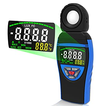 INFURIDER Digital Light Illuminance Meter,YF-8801A Handheld Lux Foot Candle Meter,Accurate Measures 0.1-400,000 Lux with 4-bit Color LCD Display