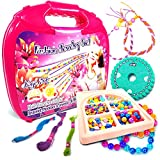 Jewelry Making Kit Fashion Studio Set - Make Your Own Bead Necklace, Bracelet & Jewelry Kits - Toy Girls Jewelry Box - Beading Station with Design Storage Case - DIY Arts and Crafts for Girls