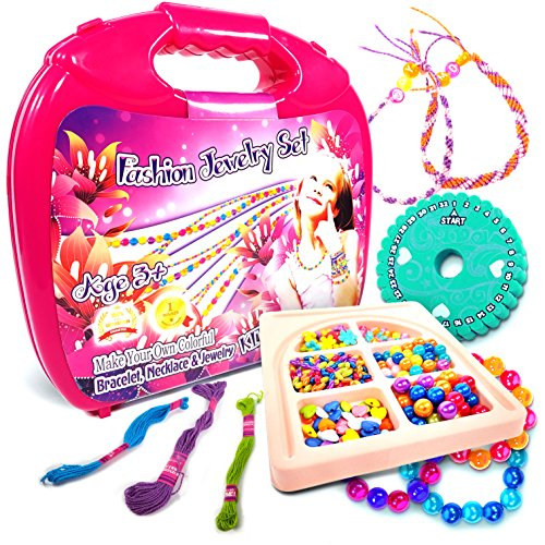 Toys World Shop Jewelry Making Kit Fashion Studio Set - Make Your Own Bead Necklace, Bracelet & Jewelry Kits - Beading Station with Design Storage Case - DIY Arts and Crafts for Girls