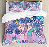 Mushroom Duvet Cover Set Queen Size by Ambesonne, Trippy Drawing Hippie Decor Sixties Visionary Psychedelic Shamanic, Decorative 3 Piece Bedding Set with 2 Pillow Shams, Aqua Light Pink Purple