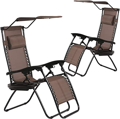 BestMassage Patio Chairs Lounge Chair Zero Gravity Chair 2 Pack Recliner W Folding Canopy Shade and Cup Holder for Outdoor Funiture Brown