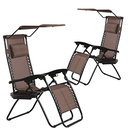 Patio Chairs Lounge Chair Zero Gravity Chair 2 Pack Recliner W/Folding  Canopy Shade and Cup Holder for Outdoor Funiture