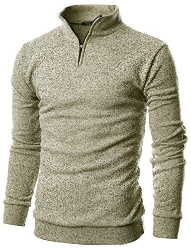 GIVON Mens Slim Fit Quarter Zip Up Long Sleeve Mock Neck Pullover Sweater/DCP046-BEIGE-M (Quarter Sweater Zip Mock)