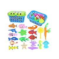 ACGOING Fishing Game Set Magnetic - Bath Toy Basket Bath Pool Floating Toys Set for Boys Girls Toddlers Party Favor