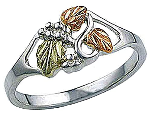 4aedbfb9f34f6 Landstroms Black Hills Silver Ladies Ring with 12k Gold Leaves - MRL02821