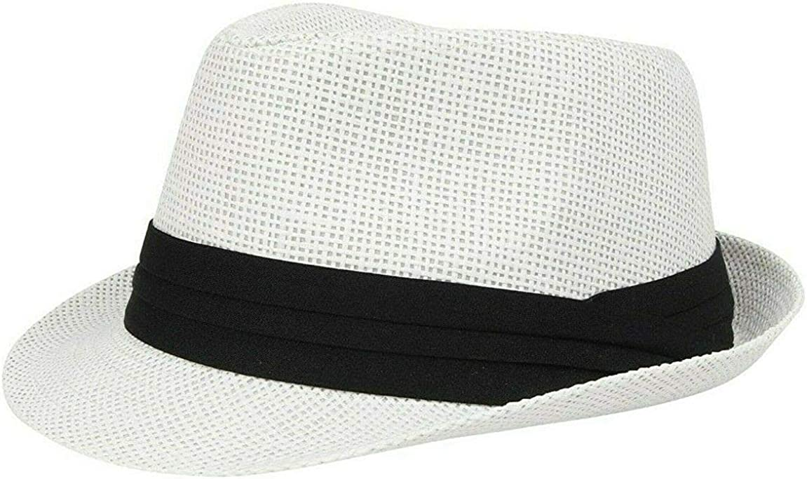 Nicky Adams Countrywear Mens Trilby Straw Paper Holiday Sun Hat White with Pleated Band Fedora Holiday