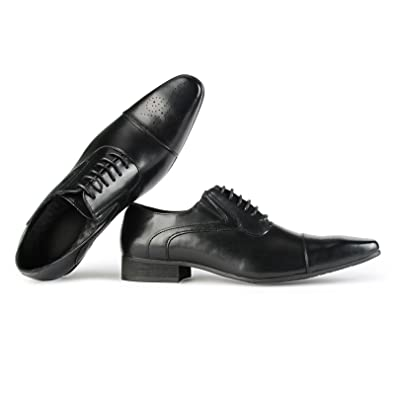 8020bb459456e Men's Oxfords Classic Leather Dress Shoes Modern Round Cap Toe Lace up  Formal Business